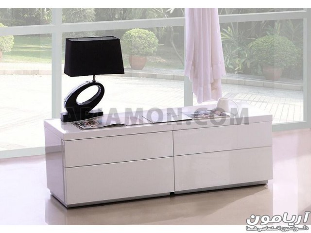 سرویس خواب چرم سفید مشکی مدل BS138
