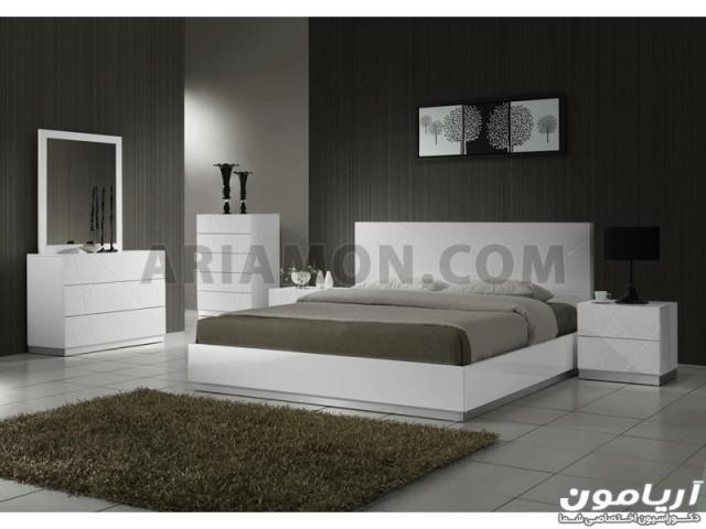 سرویس خواب سفید هایگلاس مدرن