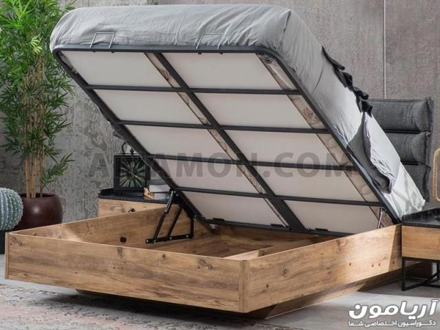 تخت خواب چوب و فلز