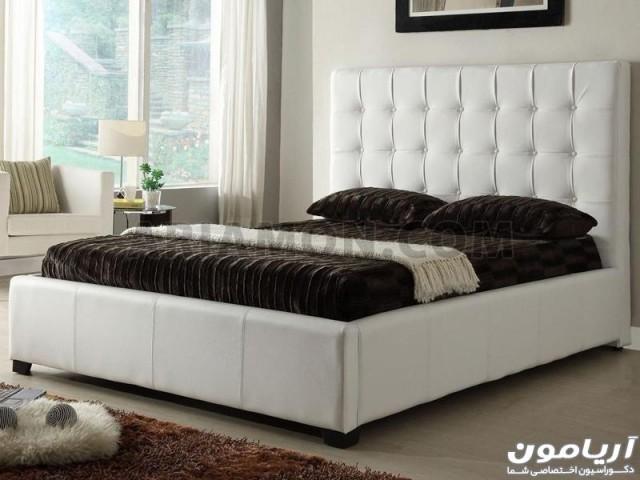تخت خواب چرم سفید مشکی