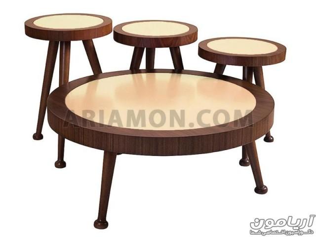 میز جلو مبلی و عسلی گرد سه تکه مدل CT102