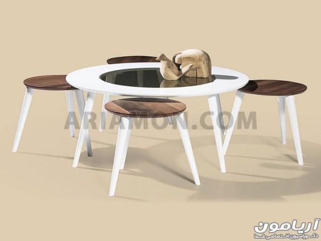 میز جلو مبلی و میز عسلی گرد