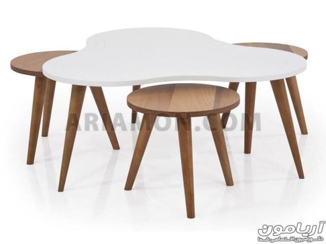 میز جلو مبلی دایره چوبی با میز عسلی مدل CT121