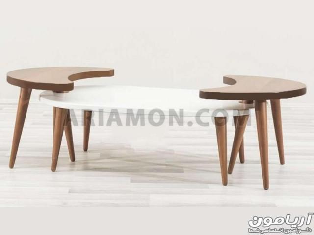 میز جلو مبلی خاص سفید با عسلی مدل CT122