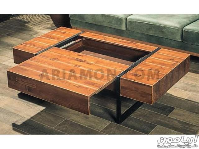 میز جلو مبلی چوبی فلزی