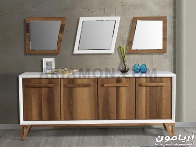آینه کنسول چهار چوب سفید مدل CN104