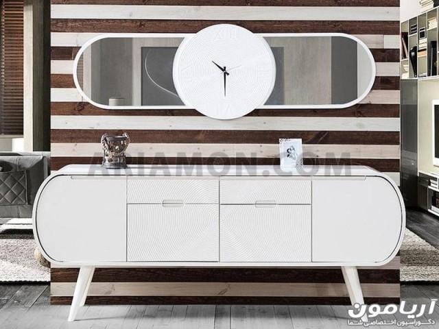 آینه و میز کنسول گرد سفید مدل CN124