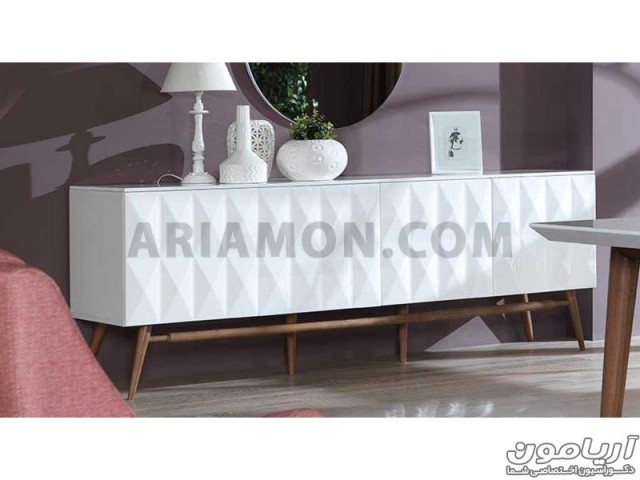 میز کنسول و آینه سفید مدل CN131