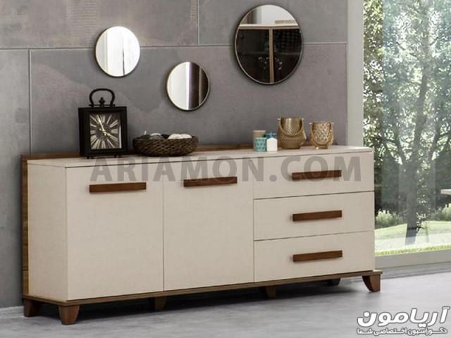 آینه و میز کنسول ساده کرم مدل CN133