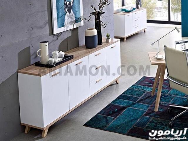 میز کنسول کشو دار ساده سفید مدل CN153