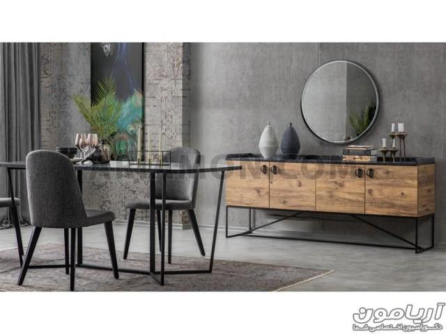 آینه کنسول چوب و فلز