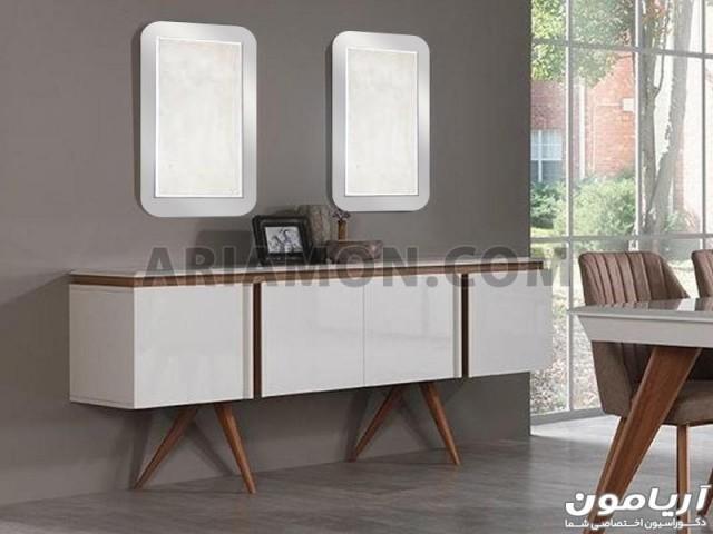 آینه کنسول چوبی سفید CN165