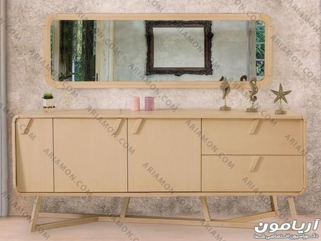 آینه و میز کنسول کرم رنگ