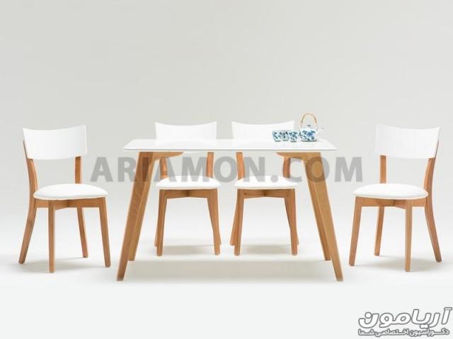 میز ناهار خوری چوبی مستطیل سفید DT100