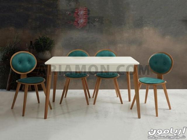 میز ناهار خوری چوبی سفید DT106