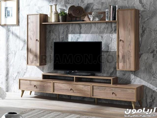 میز تلویزیون طرح ترک چوب مدل TS144