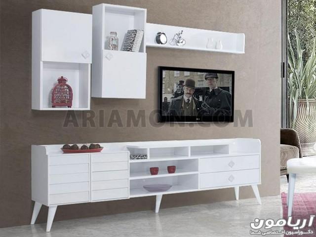 میز تلویزیون سفید جادار مدل TS154