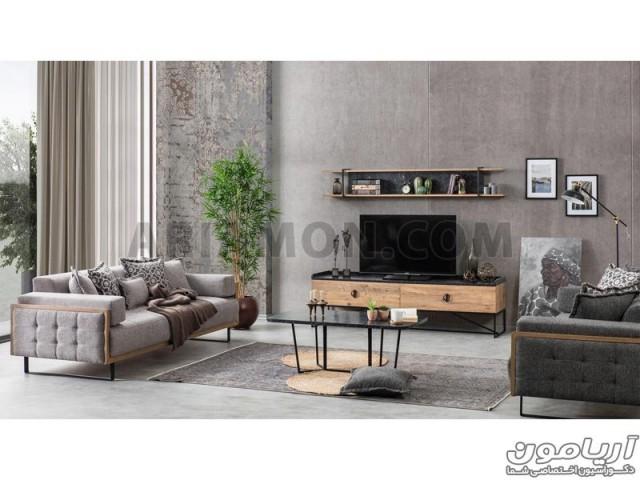 میز تلویزیون چوب و فلز