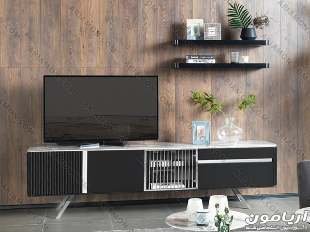 میز تلویزیون سنگی پایه استیل